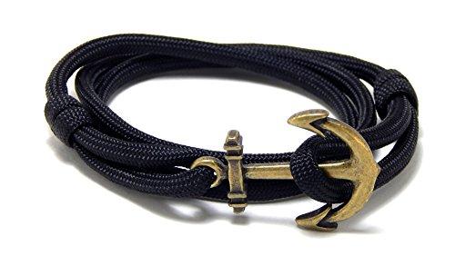 Blue Sky Adjustable Black Paracord Anchor Bracelet Brass Tone Anchor Nautical Men Women