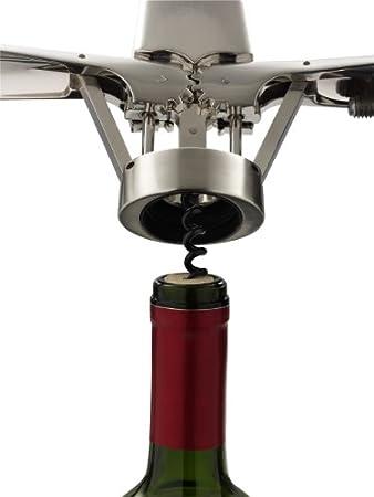 Le Creuset Sacacorchos de palanca, Extracción de tapones de vino, Aluminio cepillado, Zamac, WL300