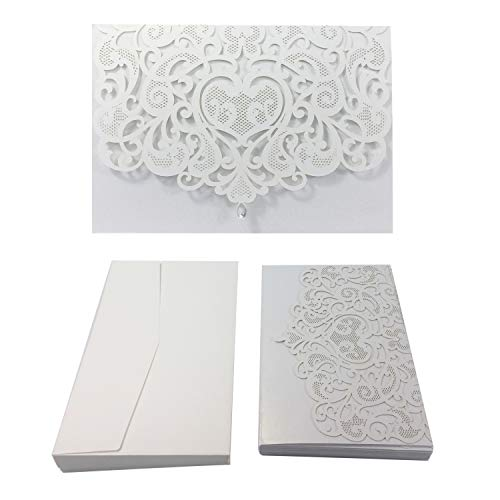 - 50PCS Paper Laser Cut Bronzing Wedding Baby Shower Invitation Cards with Butterfly Hollow Favors Invitation Cardstock for Engagement Birthday Graduation (Diamond-White)