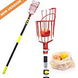 Ohuhu Fruit Picker Tool, 13 FT Upgraded Fruit Picking Equipment with Shorter Contraction Pole & Detachable Metal Basket, Lightweight & Heavy Duty Aluminum Telescopic Pole, Bonus Fruit Carrying Bag