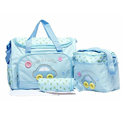 Asiacc Multi Function Baby Diaper Nappy Changing Mat Bag Mummy Tote Handbag (Skyblue)