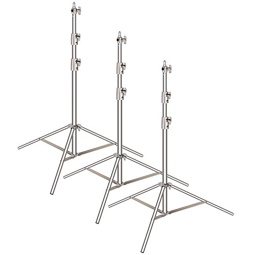 Neewer 3-pack Stainless Steel Light Stand with 1/4-inch to 3/8-inch Universal Adapter 39-102 inches/99-260 centimeters Foldable Support Stand for Studio Softbox,Umbrella,Strobe Light,Reflector,etc ()