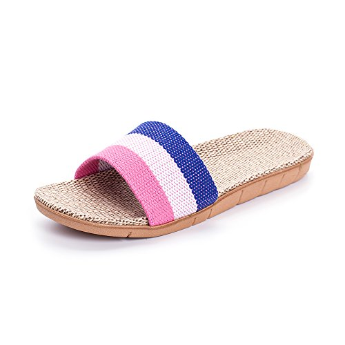 MK MATT KEELY Unisex Linen Striped Slippers Summer Skidproof House Indoor Sandals Pink