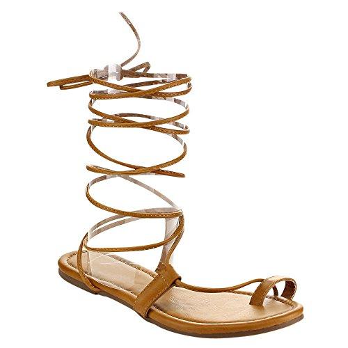 730980bddc2 Beston EA87 Women s Under Knee High Leg Wrap Roman Gladiator Lace Up Flat  Sandal