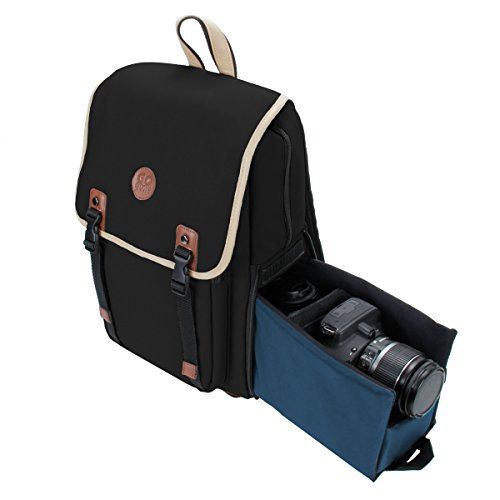 DSLR Camera Backpack by GOgroove (Mid-Volume Black) with Interior Tablet Sleeve, Dual-Side Quick Camera Access, Phone Storage and Dual Accessory Areas for Canon, Nikon, Olympus and More