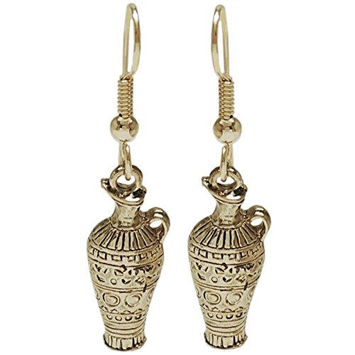- Vintage Egyptian Collection Earrings, Signed Jj, USA!, Egyptian Urn in Antique Brass