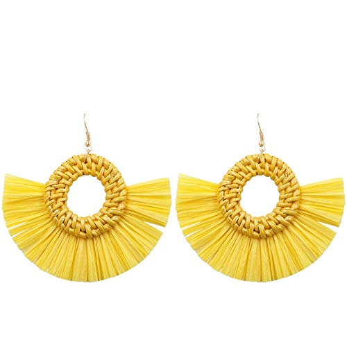 GrassStore Baublebar Earrings Tassle Earing Face Gauges Earrings Earrings Women Tassel Earring Geometric Rattan Earing - Metal Color:yellow