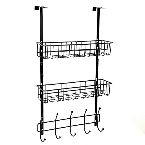 Wittywares Over The Door Hook Hanger Three Tiers with 10 Hooks and Mesh Basket Adjustable Storage Rack Wall Hook for Coats Hats Robes Towels by Wittywares (Image #6)