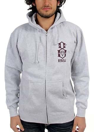 Rebel8 - Logo sudadera con capucha para hombre con cremallera, tamaño mediano, gris jaspeado
