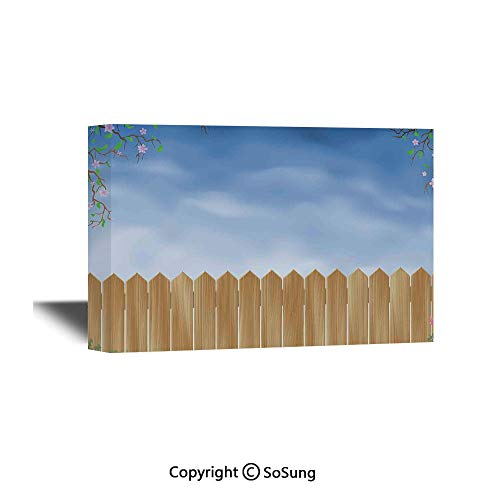 Farm House Decor Canvas Wall Art,Wooden Garden Plank with Swirled Spring Season Bloom Up Tranquil Landscape,Modern Living Room Office Wall Art Bedroom Decoration Ready to Hang,48x32 inch