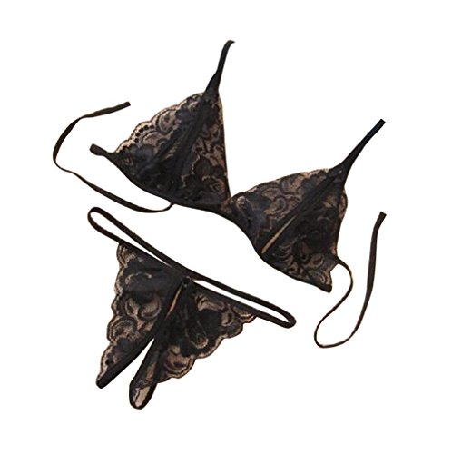iSkylie Clearance! Women Women Sexy Lace Hollow Pearls Lingerie G-String Thong Panties Open Crotch Sex (M, Black)