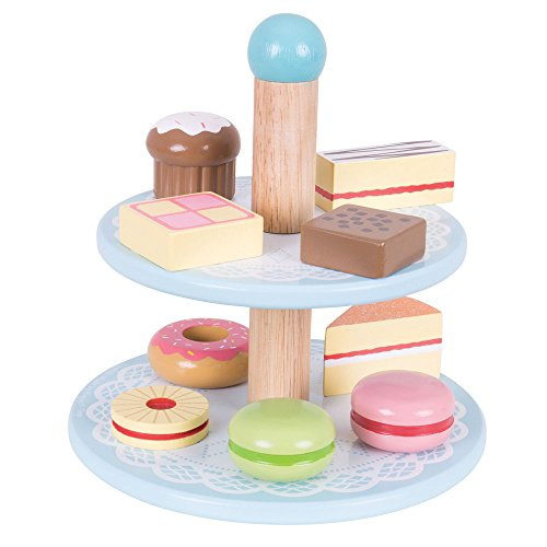 Bigjigs Toys Wooden Cake Stand with 9 Wooden Cakes - Pretend Role Play