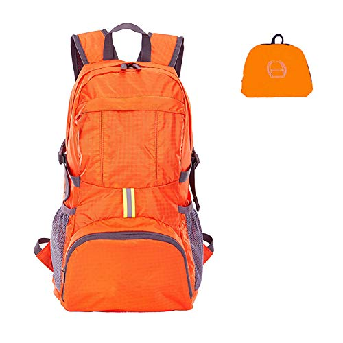 Kyerivs Lightweight Packable Foldable Durable Travel Hiking Camping Backpack Daypack (Orange) For Sale