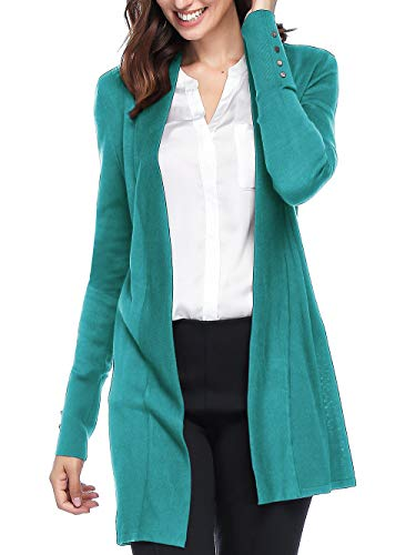 Spicy Sandia Open Front Knit Cardigans for Women Lightweight Cover-up Long Sleeve Cardigan Sweaters, Teal, - Sleeve Cardigan Long Wrap