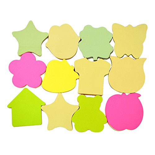 YAOSEN Creative Novelty Assorted Self Sticky Notes Different Shape Paper Memo Notes (Total 100 Pages, Random Shape)