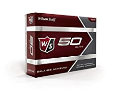 The Wilson Staff Fifty Elite golf ball delivers balance to your game. Synergies between an advanced rubber core chemistry and a firm ionomer cover yield a fast, 50 compression golf ball with powerful acceleration.