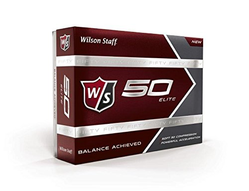 (Wilson Golf Staff Fifty Elite Golf Balls, Dozen Slide Pack, White - WGWP17002)