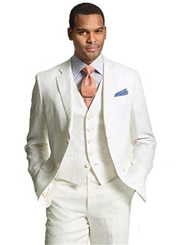 Wool Ivory Blend Jacket (Mens 3 Piece Tuxedos Groomsmen Wedding Suit Blazer Jacket Pants Vest Set Ivory)