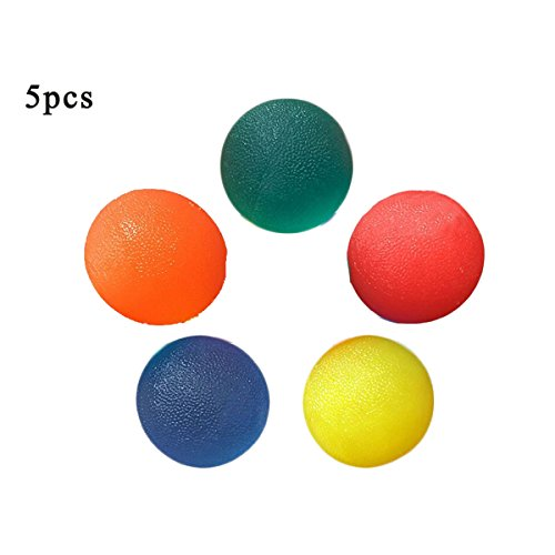 5 PACK Multiple Resistance Therapy Exercise Gel Squeeze Balls for Hand Finger Wrist Muscles Arthritis Grip Exerciser Strengthening ()