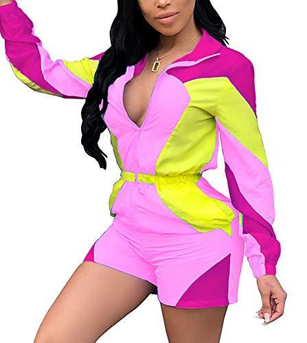 VOIKERDR Colorblock Women 2 Piece Outfits Tracksuit Jumpsuits Striped Lightweight Windbreaker Short Pants Set