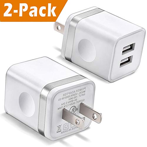 USB Wall Charger, BEST4ONE 2-Pack 2.1A/5V Dual Port USB Plug Power Adapter Charging Block Compatible with iPhone XS / XR / X, 8/7/6, Samsung, Tablet, Moto, Google Pixel, LG, More Cell Phone (White)