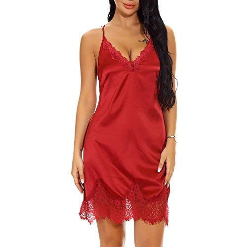 Fashion Donna Mini Donna Donna Babydoll Red Sexy Sexy Sexy V Underwear Reggiseni Morwind Lingerie Lace Reggiseni Abbigliamento Wine Hot Sleepskirt Sexy Hot Up Biancheria Push Neck fqn6aw