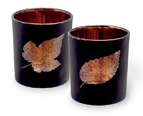 Boston International Set of 2 Black Glass Leaf Design Tealight Holders