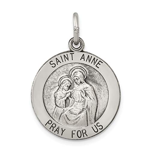 925 Sterling Silver Saint Anne Medal Pendant Charm Necklace Religious Patron St Fine Jewelry For Women Gift Set