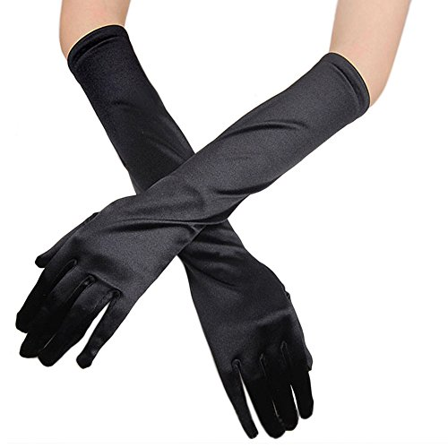(Lanhui Opera Gloves Wedding Gloves Bridal Gloves Evening Party Prom Gloves Womens Satin Long Gloves (38cm/14.96