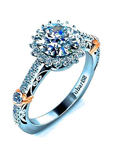 d193676316f0 Image Unavailable. Image not available for. Color  1.35Tcw Custom Round  Halo Diamond Engagement Ring ...