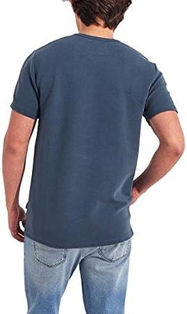 Hollister - Camiseta de cuello redondo acanalado para hombre