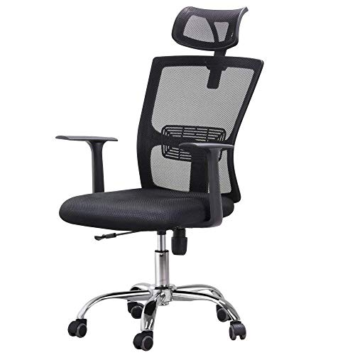 Yaheetech Swivel High-Back Ergonomic/Executive/Mesh Office Chair with Lumbar Support and Adjustable Arms/Headrest on Casters Wheels Black