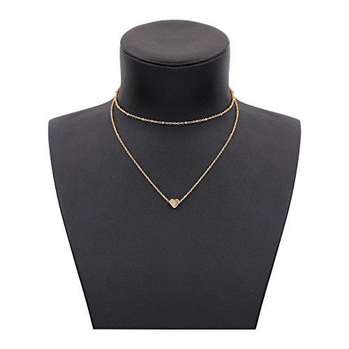 Heart 14k Beaded (Gudukt Dainty Heart Necklace Handmade 14K Gold Fill Beaded Simple Choker Necklace for women)