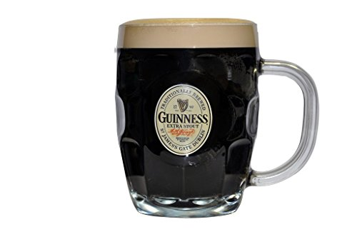 Guinness Hobnail Tankard   Classic Glass Beer Mug With Handle