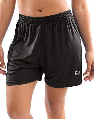 Admiral Club Ready-to-Play Women's Soccer Shorts, Black/White, Large (Shorts Soccer Women)