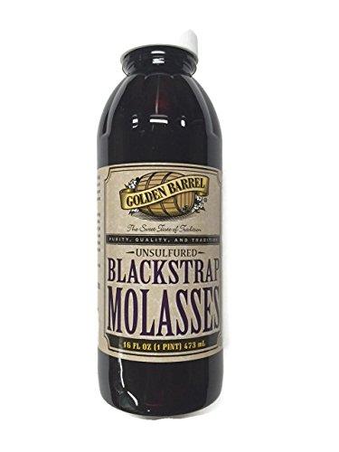 Golden Barrel Blackstrap Molasses, 16 Fl. Oz. (1 Pint), Narrow Mouth Plastic Bottle Black Strap Molasses Iron
