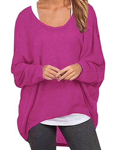 ZANZEA Women's Batwing Long Sleeve Off Shoulder Loose Oversized Baggy Tops Sweater Pullover Casual Blouse T-Shirt Rose US 6/Tag Size S