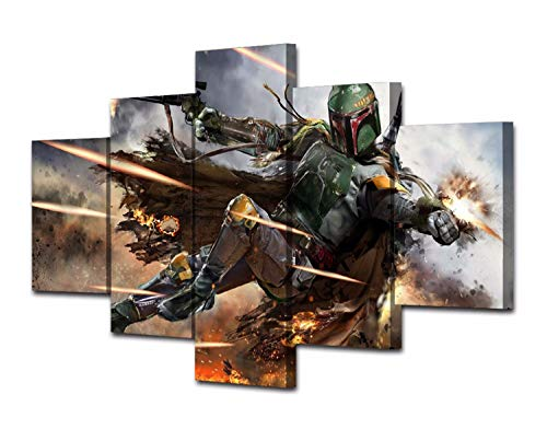 JESC 5 Pieces Star Painting Warrior Boba Fett Wall Art Picture Home Decoration Living Room Canvas Print Wall Picture Printing On Canvas