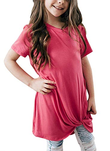Bulawoo Girls Clothing Casual Short Sleeve Summer Tops Little Girls Knot Front Fashion Tee Shirts Size 4-13 12-13 Years Rose Red by Bulawoo