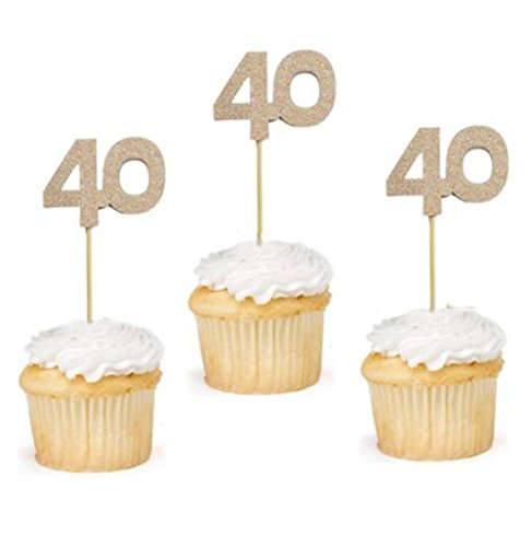 24 Pcs of Glitter Rose Gold Number 40 Cupcake Toppers 40th Birthday Celebrating Birthday Party Anniversary Cake Topper Decor]()