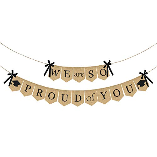 Burlap We are So Proud of You Banner - Rustic Vintage Graduation Banner | Graduation Decorations for Graduations Party Supplies 2019 | Great for Graduation Party, Grad Party , Home Party -