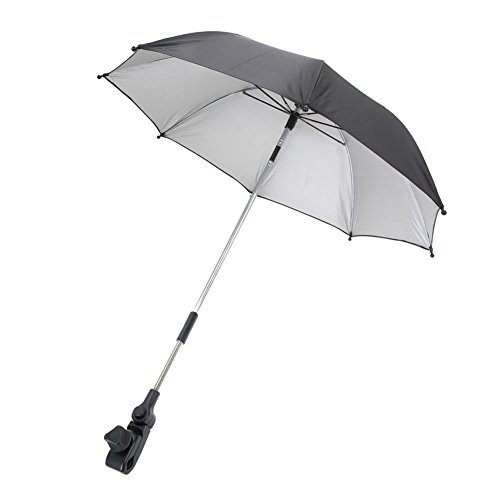 Chinatera Baby Pram Pushchair Buggy Shade Stroller Parasol Sunshade Stroller Umbrella with Universal Clamp (Black)