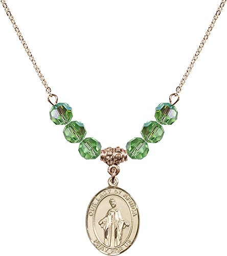 18-Inch Hamilton Gold Plated Necklace with 6mm Peridot Birthstone Beads and Gold Filled Our Lady of Africa Charm. by F A Dumont