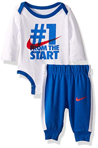 NIKE Children's Apparel Baby Girls Long Sleeve Bodysuit and Joggers 2-Piece Outfit Set, University Blue/White, -
