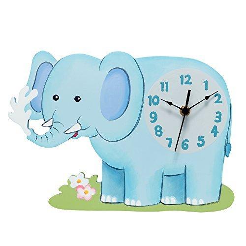 Elephant Clock - Fantasy Fields Sunny Safari Kids Wall Clock, Blue/Elephant