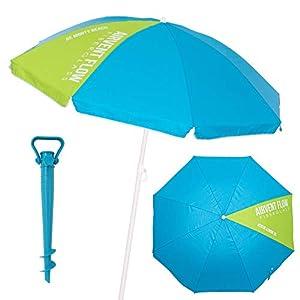 LOLAhome Pack sombrilla de Playa antiviento de Ø 180 cm Azul de Acero y Fibra Vidrio, con Soporte