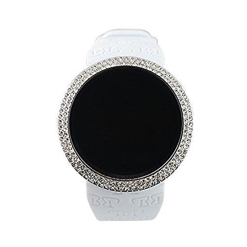 Techno Pave Iced Out Bling Lab Created Silver White Digital Touch Screen Sports Watch Silicone Band