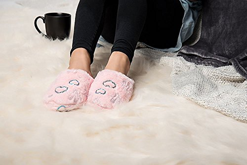 Aerusi Womens Comfortabele Pluizige Pluche Fleece Gevoerde Slip Op Klomp Scuff Houser Slipper Roze