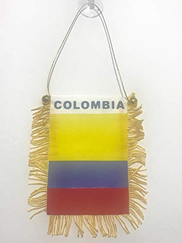 BUNFIREs Colombia flag Mini banner rearview mirror window car Home Colombian pride