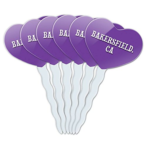 Purple Heart Love Set of 6 Cupcake Picks Toppers Decoration City State Ab-Bu - Bakersfield (Party City Bakersfield)